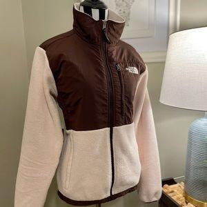 The North Face TNF Denali Jacket Pink Brown Fleece Medium Ski Snowboard Coat